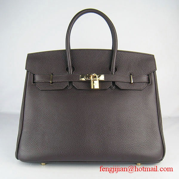 Hermes 35cm Embossed Veins Leather Bag Dark Coffee 6089 Gold Hardware
