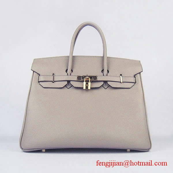 Hermes 35cm Embossed Veins Bag Grey Gold Hardware 6089
