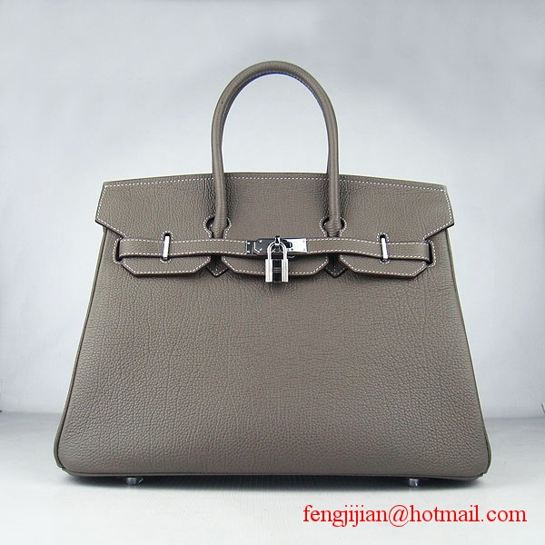 Hermes Birkin 35cm Tendon Veins Leather Bag Khaki Silver Hardware