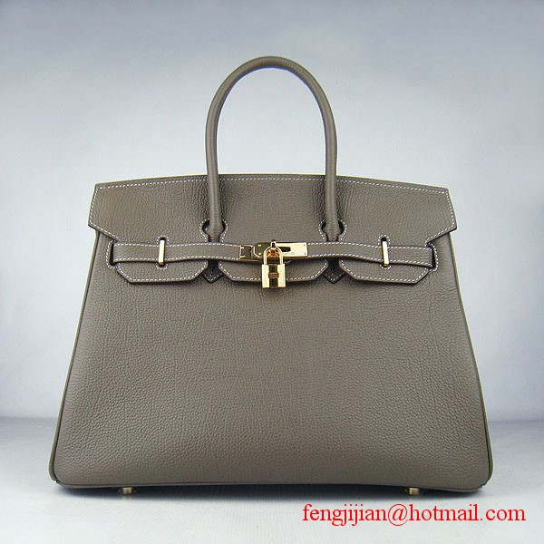 Hermes Birkin 35cm Tendon Veins Leather Bag Khaki Gold Hardware