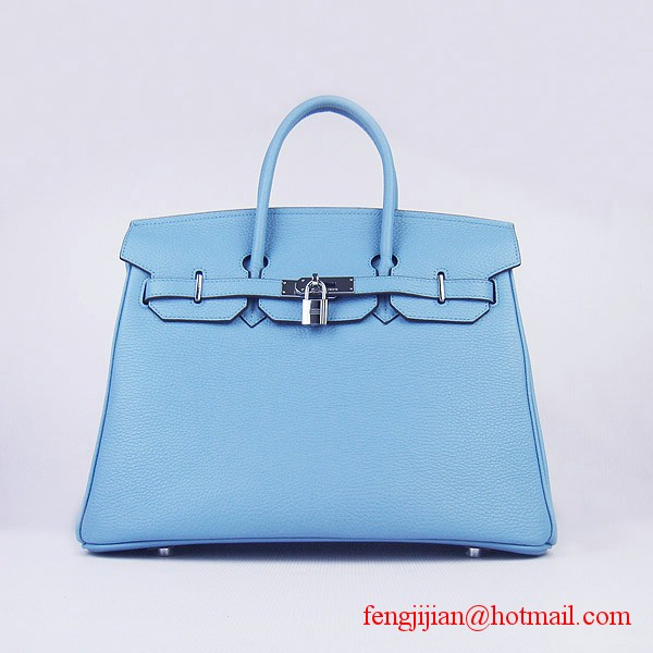 Hermes 35cm Embossed Veins Leather Bag Light Blue 6089 Silver Hardware