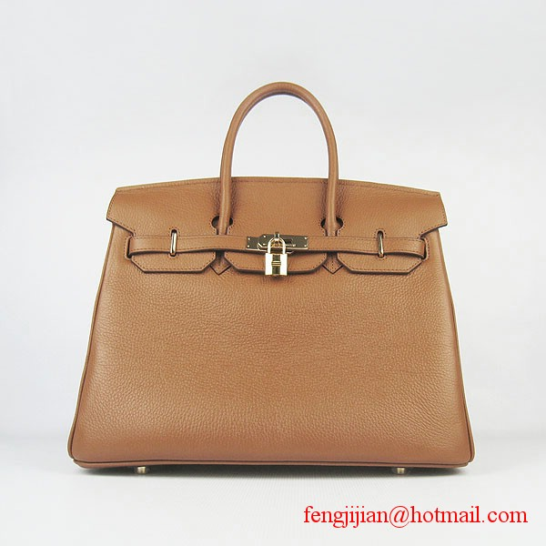Hermes 35cm Embossed Veins Leather Bag Light Coffee 6089 Gold Hardware