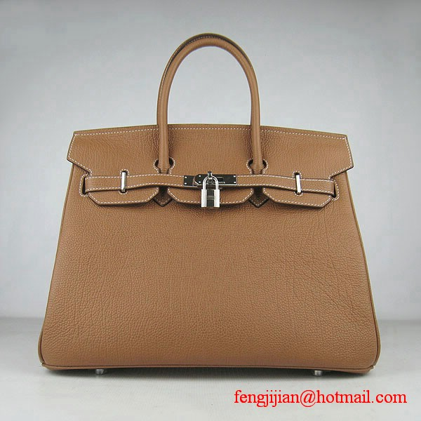Hermes Birkin 35cm Tendon Veins Leather Bag Light Coffee Silver Hardware