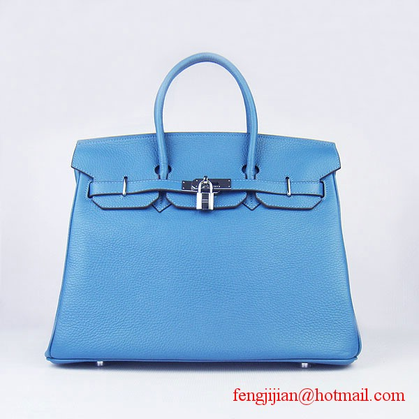 Hermes 35cm Embossed Veins Leather Bag Bule 6089 Silver Hardware