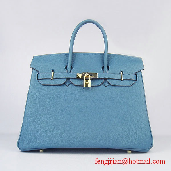 Hermes Birkin 35cm Tendon Veins Leather Bag Blue Gold Hardware