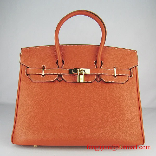 Hermes 35cm Embossed Veins Leather Bag Orange 6089 Gold Hardware