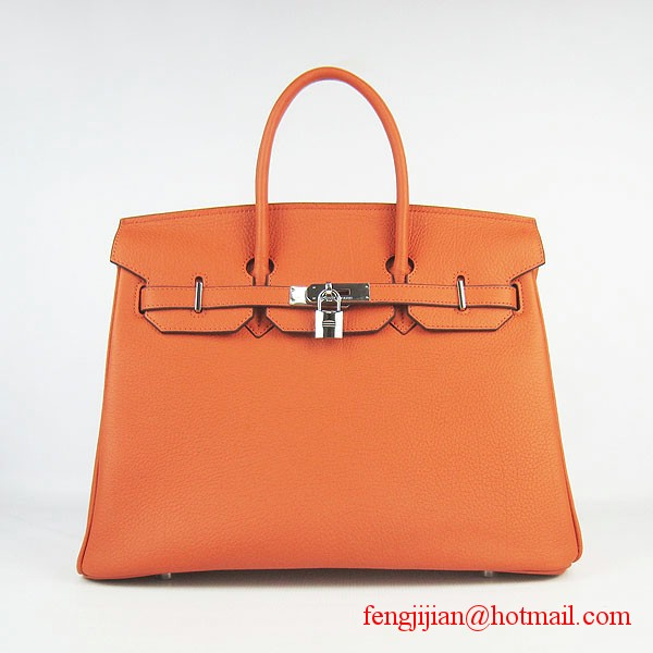Hermes Birkin 35cm Tendon Veins Leather Bag Orange Silver Hardware