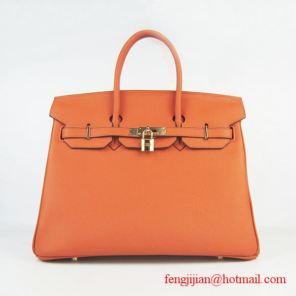 Hermes Birkin 35cm Tendon Veins Leather Bag Orange Gold Hardware