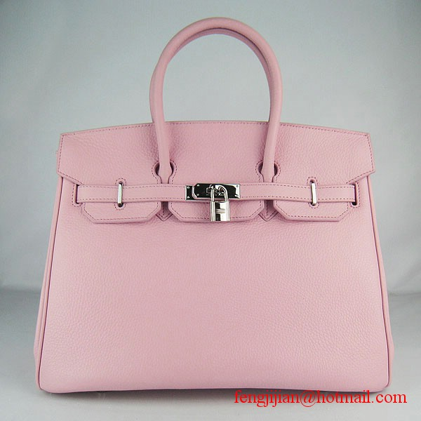 Hermes 35cm Embossed Veins Leather Bag Pink 6089 Silver Hardware