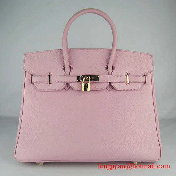 Hermes 35cm Embossed Veins Leather Bag Pink 6089 Gold Hardware