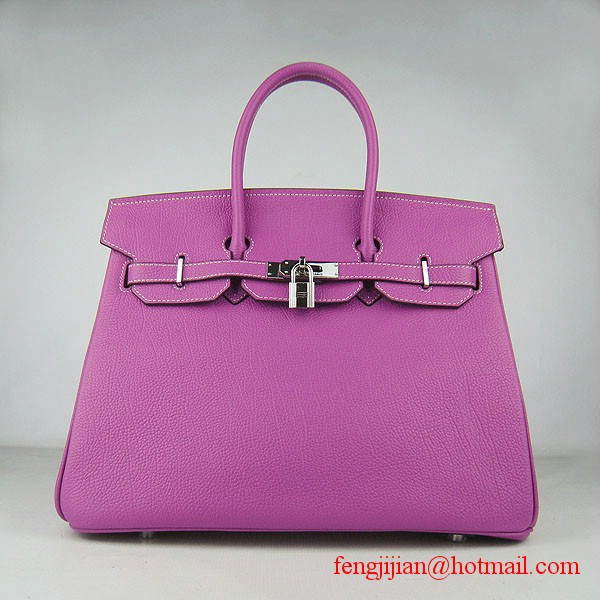 Hermes Birkin 35cm Tendon Veins Leather Bag Peachblow Silver Hardware
