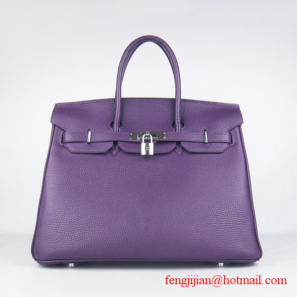 Hermes Birkin 35cm Embossed Veins Leather Bag Purple 6089 Silver Hardware