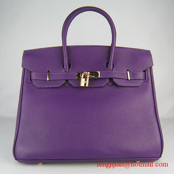 Hermes Birkin 35cm Embossed Veins Leather Bag Purple 6089 Gold Hardware