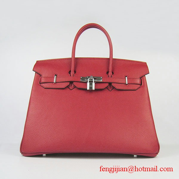 Hermes 35cm Embossed Veins Leather Bag Red 6089 Silver Hardware