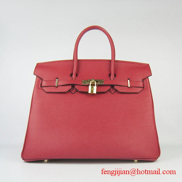 Hermes 35cm Embossed Veins Leather Bag Red 6089 Gold Hardware
