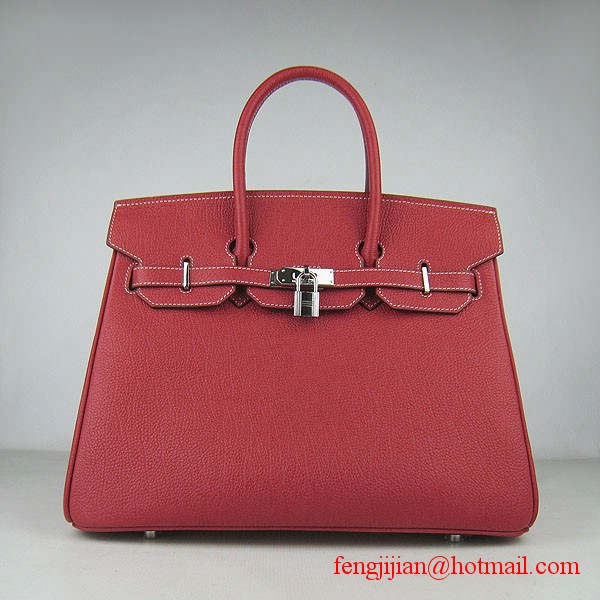 Hermes Birkin 35cm Tendon Veins Leather Bag Red Silver Hardware