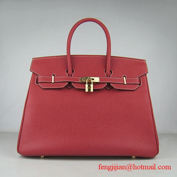 Hermes Birkin 35cm Tendon Veins Leather Bag Red Gold Hardware