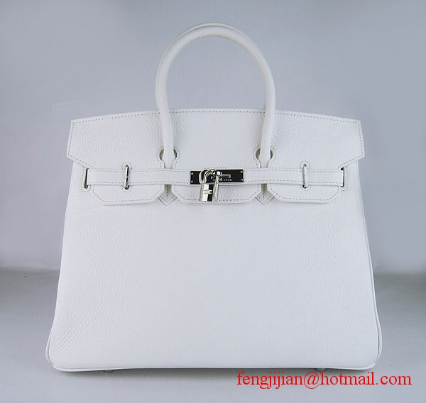 Hermes Birkin 35cm Embossed Veins Leather Bag White 6089 Silver Hardware
