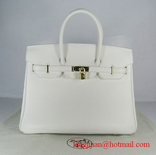 Hermes Birkin 35cm Embossed Veins Leather Bag White 6089 Gold Hardware