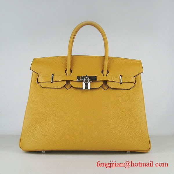 Hermes 35cm Embossed Veins Leather Bag Yellow 6089 Silver Hardware