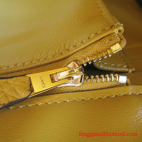 Hermes 35cm Embossed Veins Leather Bag Yellow 6089 Gold Hardware