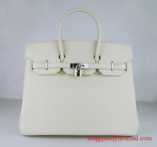 Hermes 35cm Embossed Veins Leather Bag Beige 6089 Silver Hardware