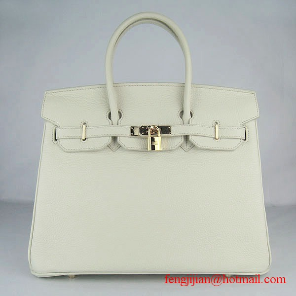 Hermes 35cm Embossed Veins Leather Bag Beige 6089 Gold Hardware