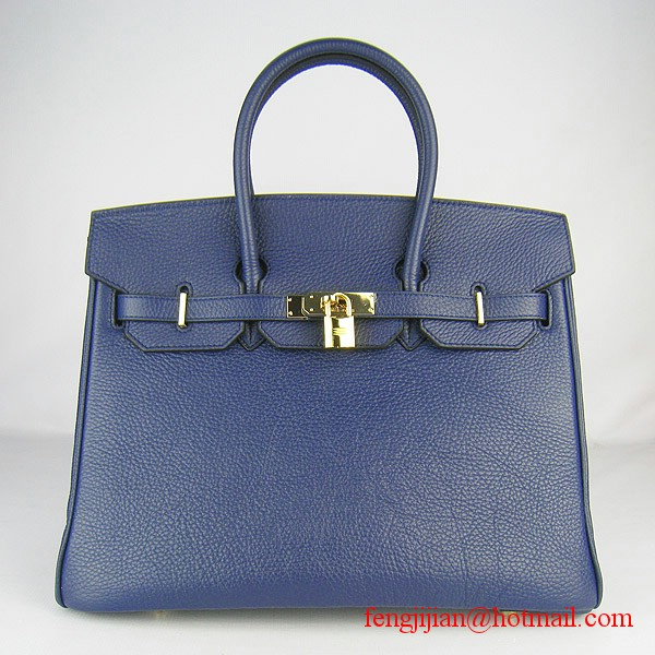 Hermes Birkin 35cm Embossed Veins Leather Bag Dark Blue 6089 Gold Hardware