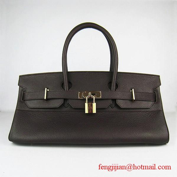 Hermes Birkin 42cm Togo Leather Bag 6109 gold padlock Dark Coffee