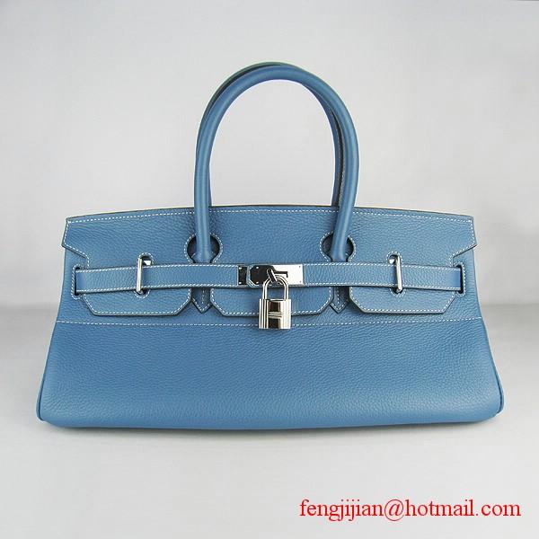 Hermes Birkin 42cm Togo Leather Bag 6109 Blue silver padlock