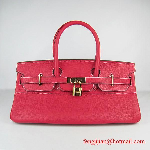 Hermes Birkin 42cm Togo Leather Bag 6109 Red gold padlock