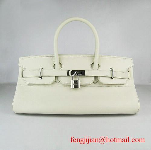 Hermes Birkin 42cm Togo Leather Bag Beige 6109 silver padlock