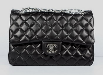 Chanel 2.55 Quilted Flap Handbag A1112 Black with Silver Hardware